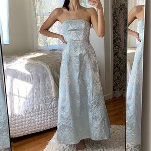 Vintage Floral Pale Blue Strapless Cinderella Gown